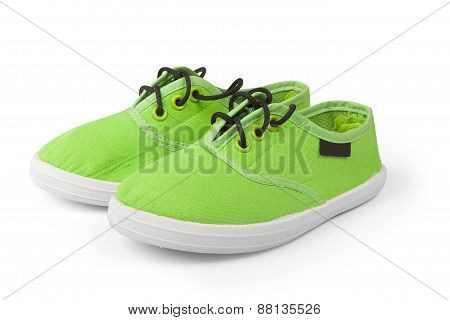 Two Green Shoes Isolated On White