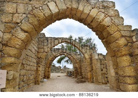Remains Of The Archs In Ancient City Of Caesarea, Israel