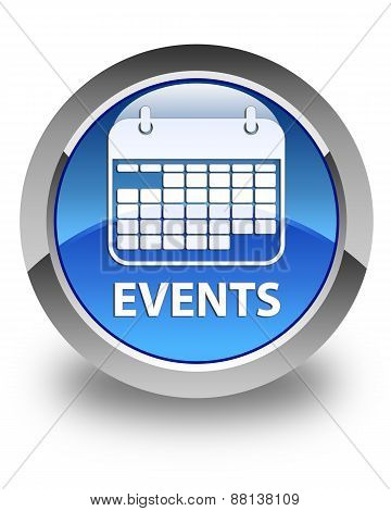 Events Glossy Blue Round Button