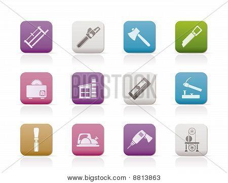 Industria de la carpintería y los iconos de herramientas de carpintería