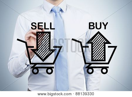 Businessman is drawing 'sell and buy' arrows on the glass screen. A concept of the trader who is forming a portfolio by selling and buying assets. poster