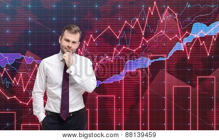 Trader Is Standing In Front Of The Forex Graph. A Metaphor Of International Financial Consulting. Re