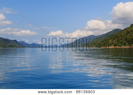 Unique tropical fjord of Brazil - Saco do Mamangua water mountains Bay Angra Rio de Janeiro Brazil poster