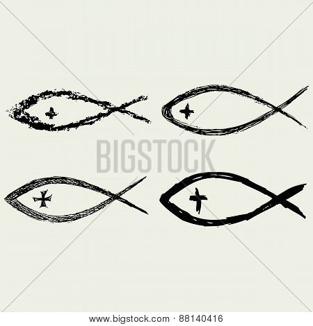 Christian fish symbol with cross
