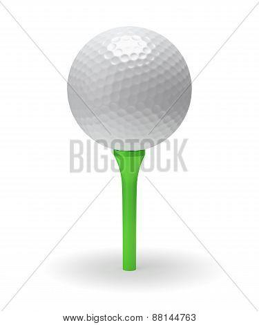 Golf Ball On Green Tee