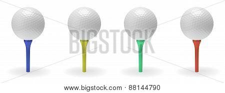 Golf Ball On Tee Set
