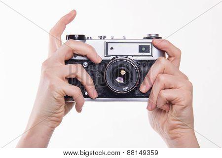 Pressing Shutter In 35Mm Classic Camera