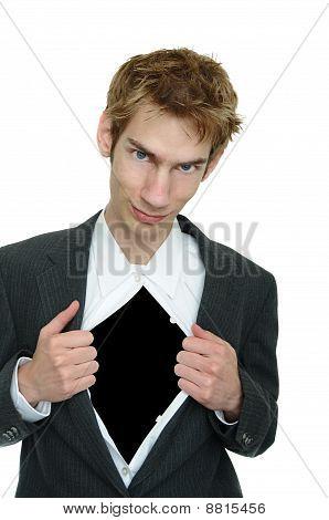 Businessman Rips Open Suit