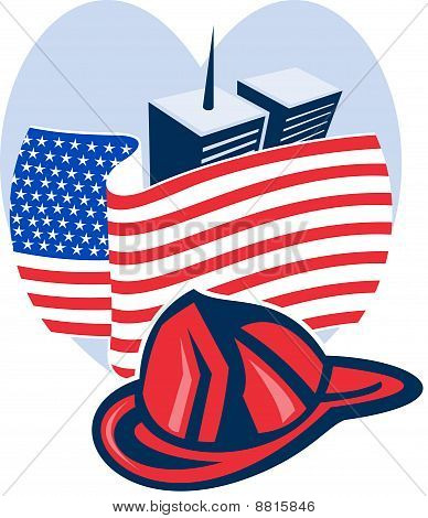 911 memorial twin towers american flag