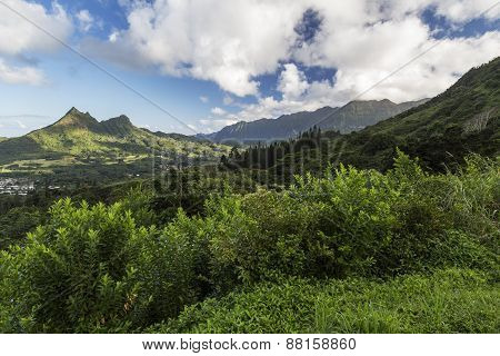 Mountains Along The Pali Highway At Nuuanu Pali State Park Oahu Hawaii