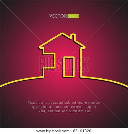 House symbol on stylish red background. Home design element. Vector illustration.