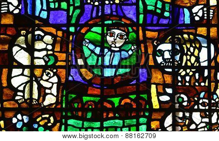 Woman with child stained glass