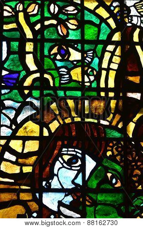 variegated stained glass man's face