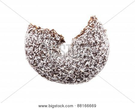 bitten coconut coated chocolate donut isolated on white background poster