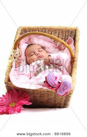 baby girl laying in a basket, white beads and big pink flower