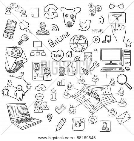 Hand drawn vector illustration set of social media