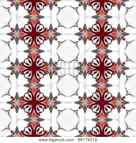Seamless Abstract Red Chrome Metallic Geometric Texture Or Background