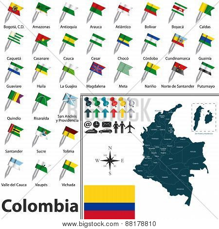 Vector map of Colombia with regions and flags poster