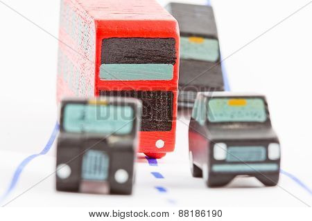 Traffic: Three Car And One Bus (focus Only On Bus)