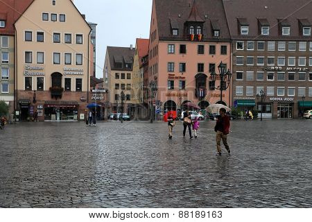 Nurnberg, Germany - July 13 2014: Rainy Day. Hauptmarkt, The Central Square Of Nuremberg, Bavaria, G