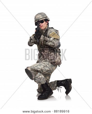 soldier aiming with rifle on a white background poster