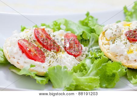 Corn Cakes With Ricotta And Salad Tomatoes (right View)
