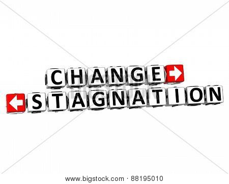3D Change Or Stagnation Over White Background.