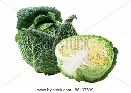 Head Of Ripe Savoy Cabbage And Half Isolated