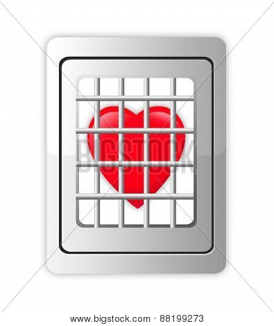 Heart In Decorative Cage Isolated On White