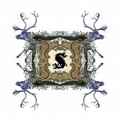 The Victorian capital letter S with four owls and four deer. poster