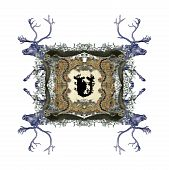 The Victorian capital letter U with four owls and four deer. poster