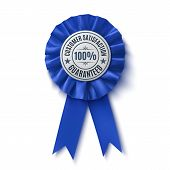 Customer satisfaction guaranteed. Realistic, blue label, isolated on white background. Badge. Fabric Award Ribbon. Vector illustration poster