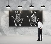 Businessman is thinking about the choice 'sell or buy' arrows on the blackboard. A concept of the trader who is forming a portfolio by selling and buying assets. poster