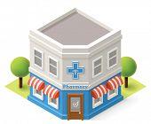 Vector isometric pharmacy building icon poster