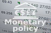 "Inscription ""Monetary policy"". Building icon with major currencies sign poster"