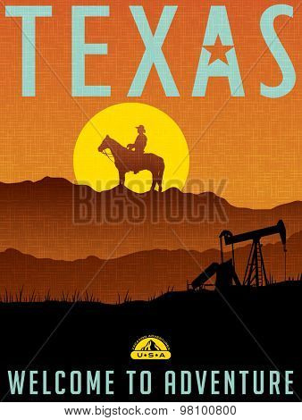 Retro illustrated travel poster for Texas