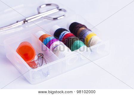 Sewing Kit On White Background