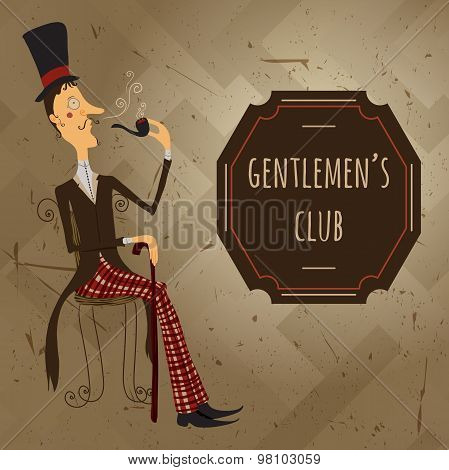 Vintage cartoon vector illustration gentlemen's club poster with english man