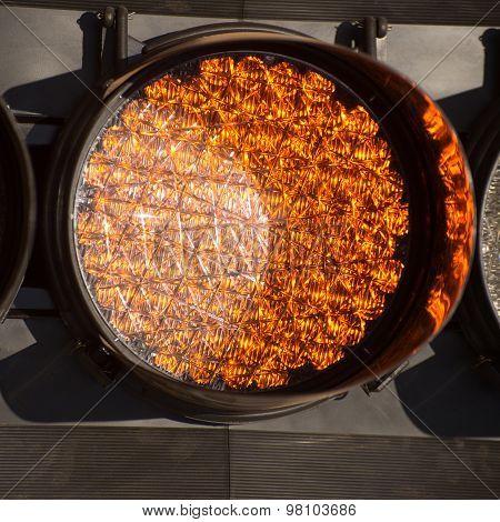 Orange Traffic Light With Led Lights