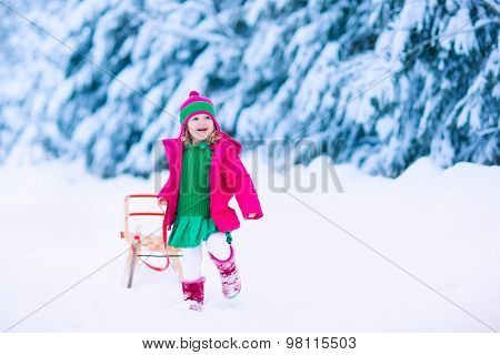 Little Girl On A Sleigh Ride