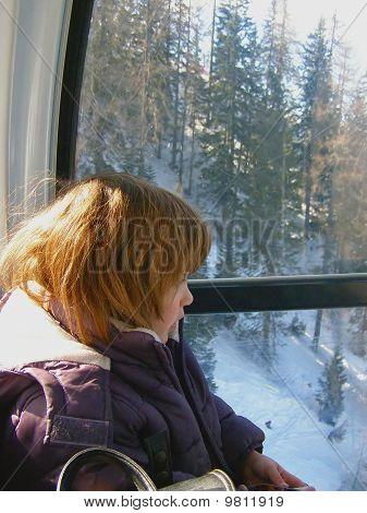 Child in funicular cabin