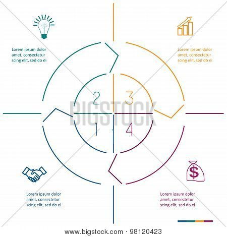 Infographic Circle Colourful Lines Four Positions