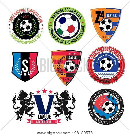 Set of Soccer logos, badges and design elements.