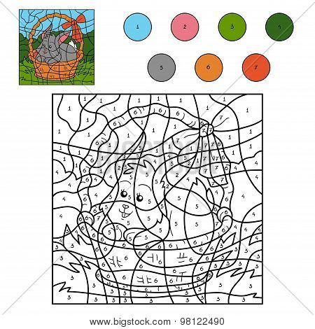 Color By Number Game (rabbit In The Basket)