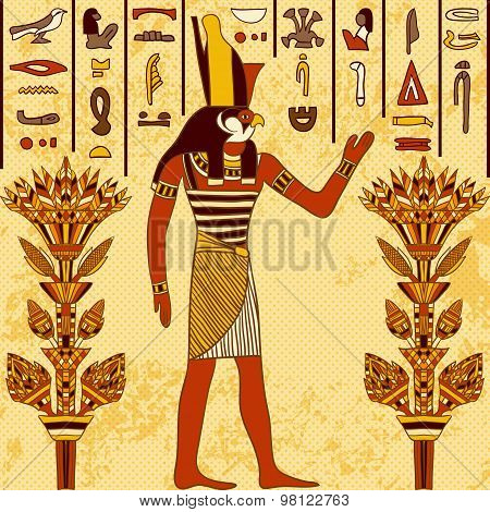 Vintage poster with egyptian god on the grunge background with ancient egyptian hieroglyphs and flor
