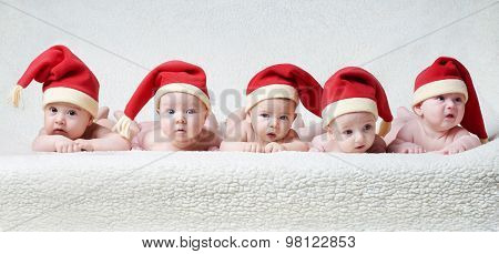 babies with santa hats on bright background