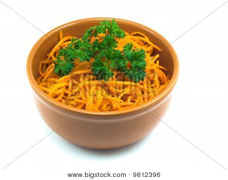 Salad From Carrot In A Saucer
