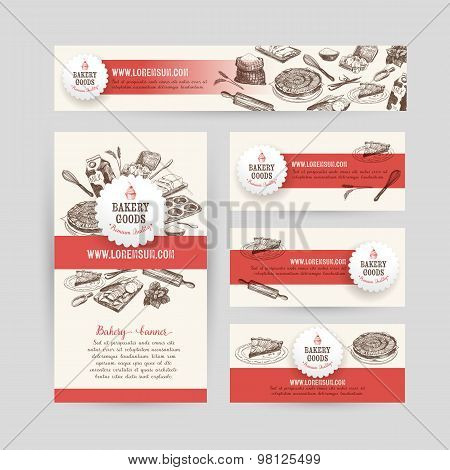 Corporate identity business set design with baking and cooking t