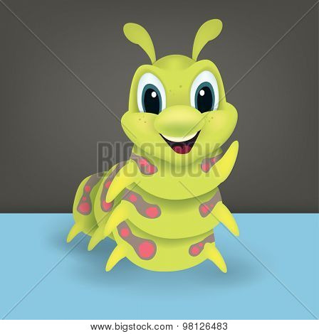 Cute happy green cartoon caterpillar with a lovely happy smile waving a leg at the viewer, vector illustration for kids