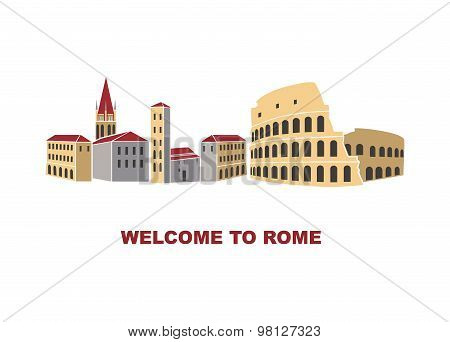 Artistic illustration of Rome Italy